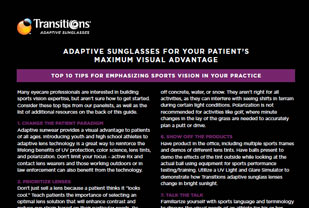 Adaptive Sunglasses For Your Patient's Maximum Visual Advantage