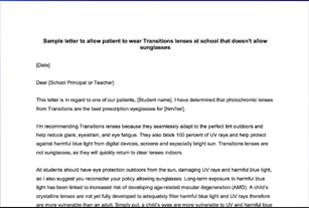 <em>Transitions<sup>®</sup></em> Lenses Patient Permission Letter for Schools