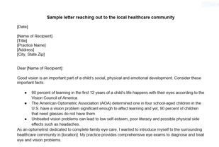 Local Healthcare Community Letter